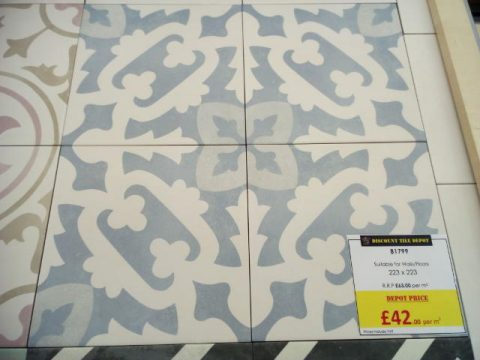 Encaustic Style Tile CA Lattice Blue York Discount Tile Depot