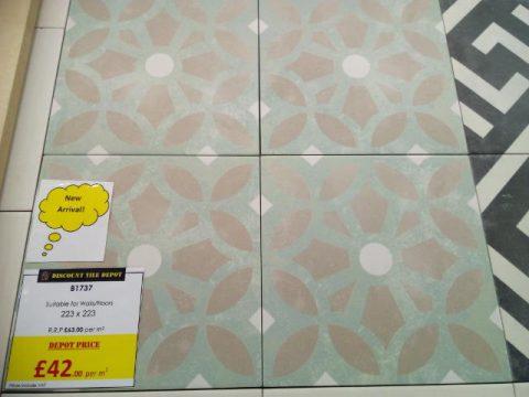 Encaustic Style Tile CA Tangier Jade York Discount Tile Depot